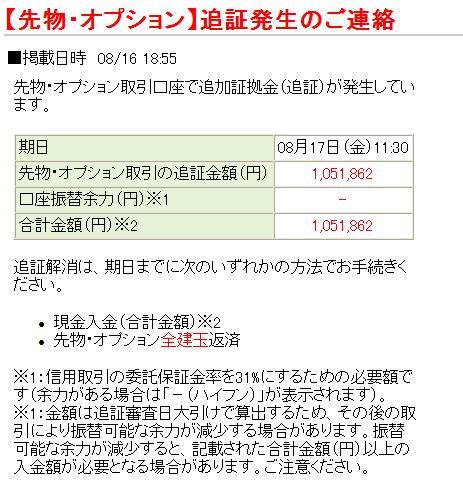 松井証券の追証画面