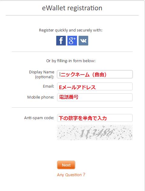 FXOPENのeWallet登録画面