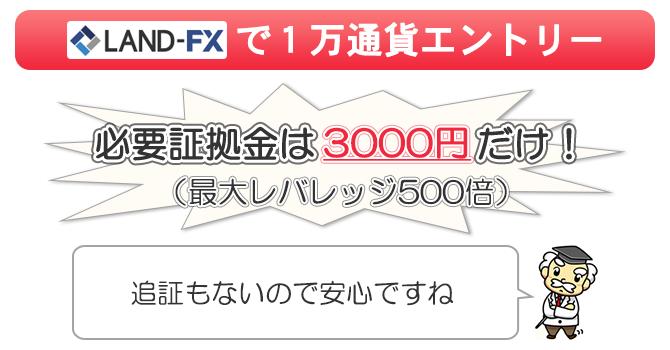 最大レバレッジ500倍のLAMDFXなら3000円入金するだけで1万通貨sエントリーできる