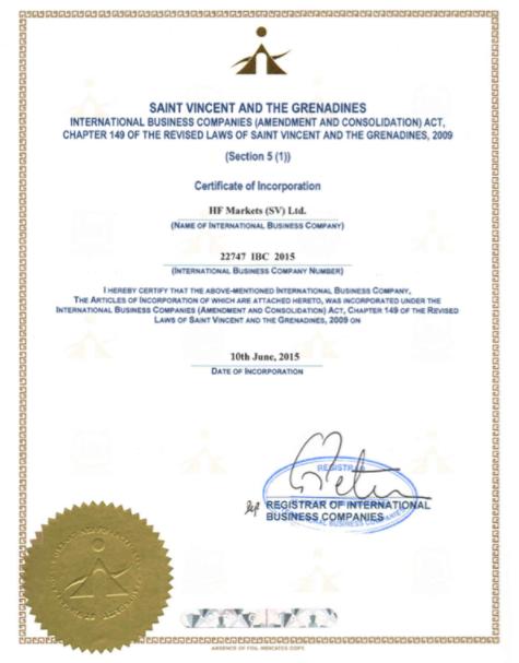 HotForexの持つセントビンセント・グレナディーンのライセンス