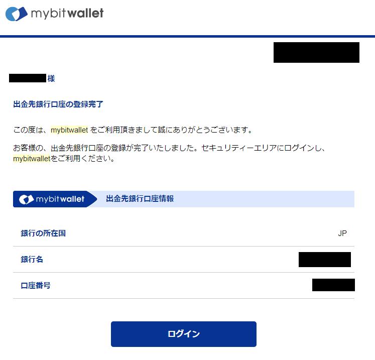 mybitwalletから届く出金先銀行口座の登録完了メール