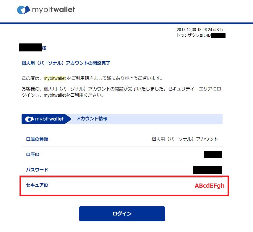 mybitwalletから届く個人用アカウントの開設完了メールにセキュアIDが記載されている