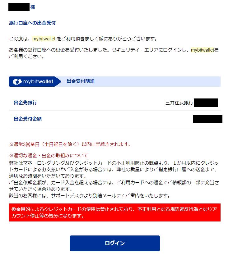 mybitwalletから届く出金受付完了メール