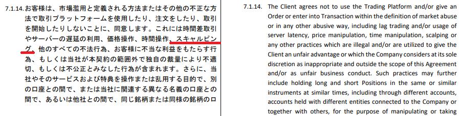 iforexでは利用規約でスキャルピングが禁止されている